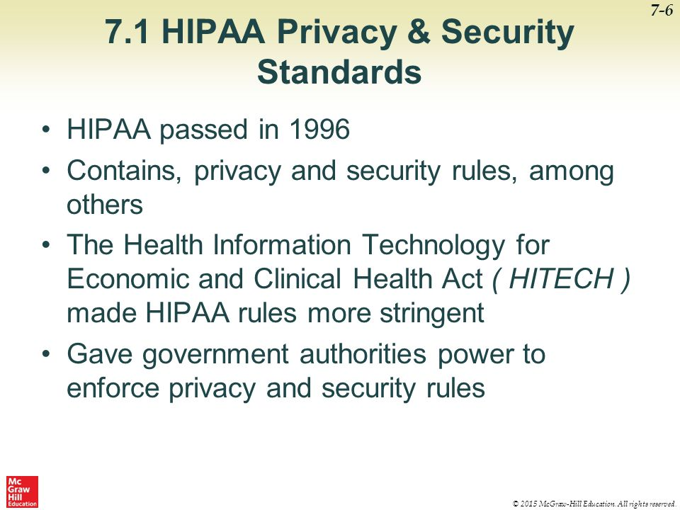 7.1 HIPAA Privacy & Security Standards