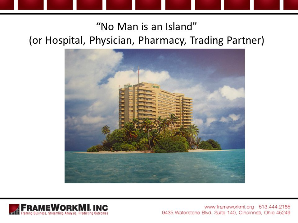 No Man is an Island (or Hospital, Physician, Pharmacy, Trading Partner)
