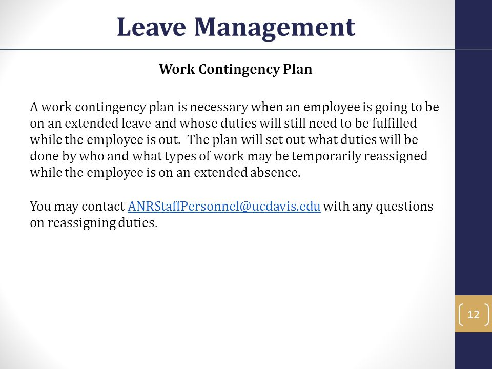 Leave Management Work Contingency Plan