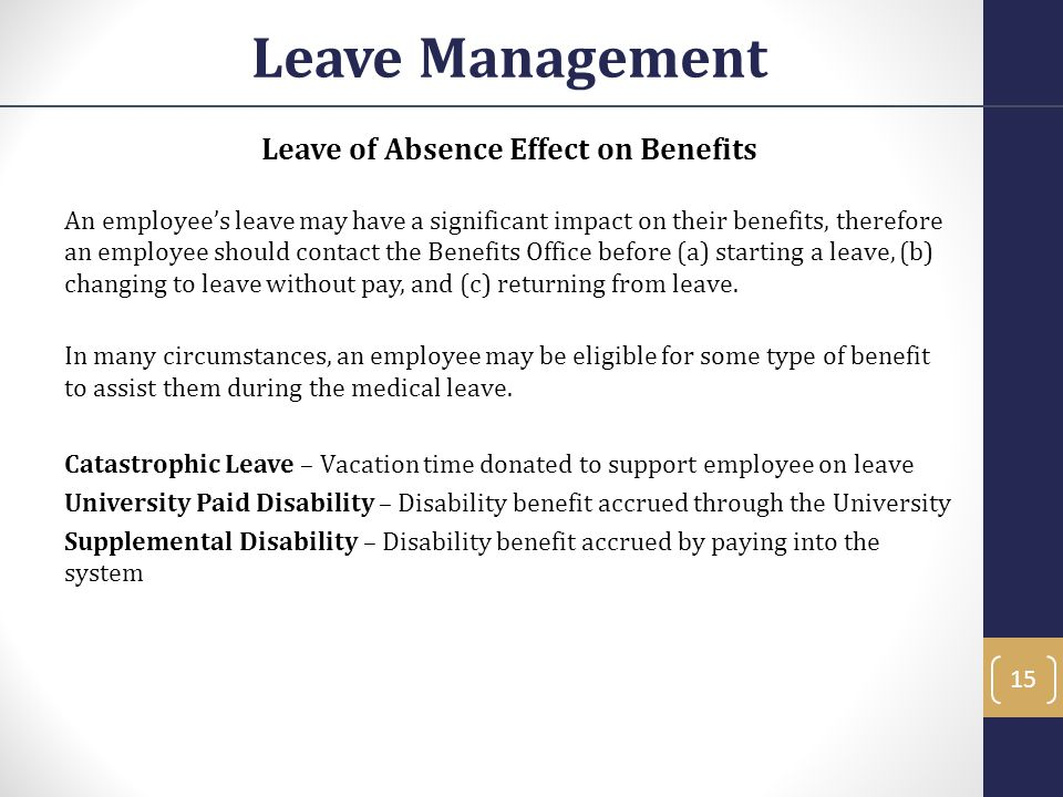 Leave of Absence Effect on Benefits
