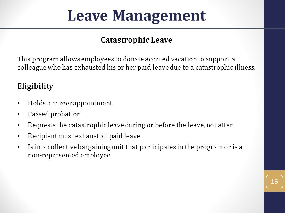 Leave Management Catastrophic Leave Eligibility