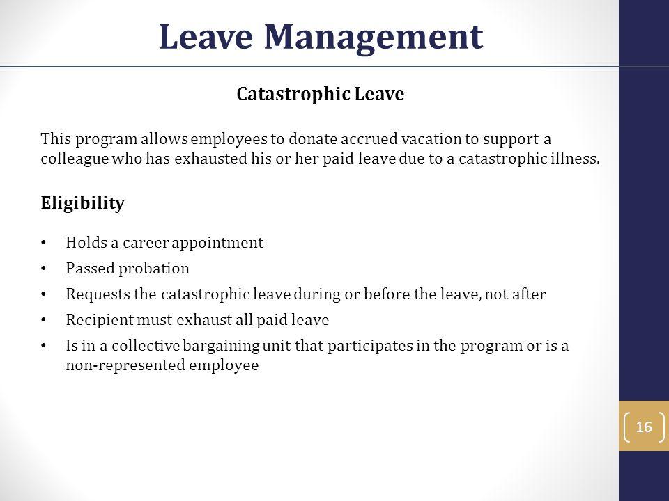 Leave Management Catastrophic Leave Eligibility