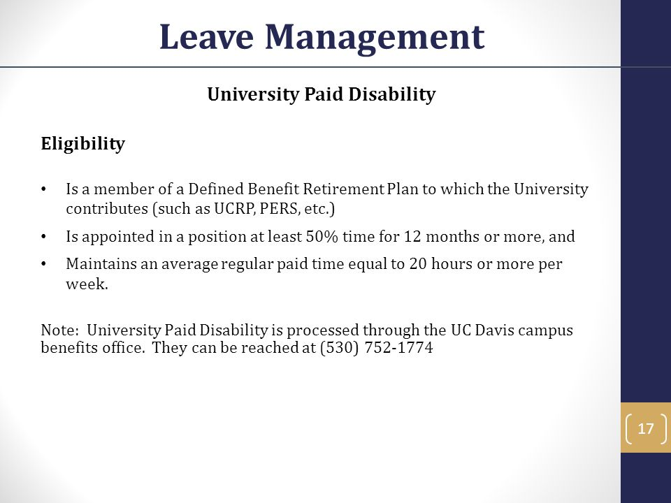 University Paid Disability