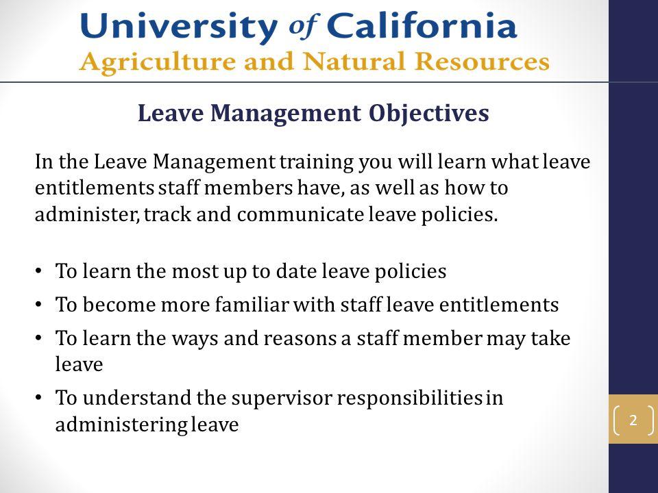Leave Management Objectives