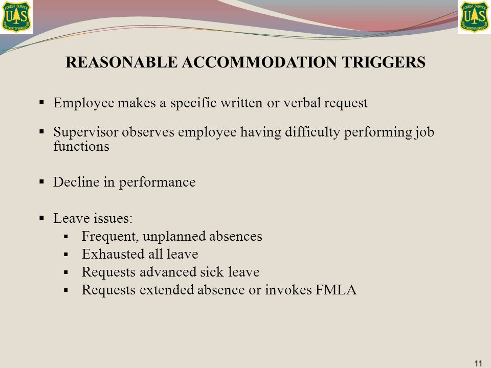 REASONABLE ACCOMMODATION TRIGGERS