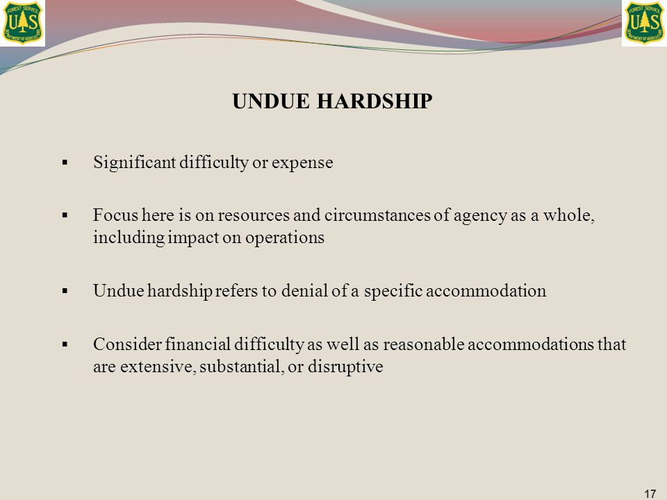 UNDUE HARDSHIP Significant difficulty or expense