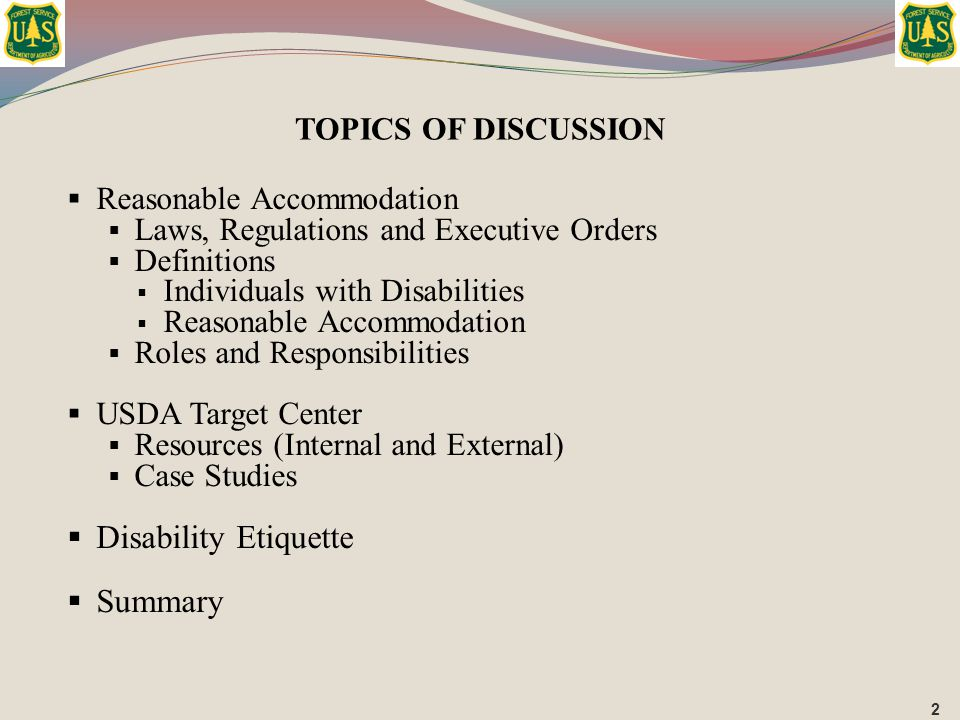 Disability Etiquette Summary TOPICS OF DISCUSSION