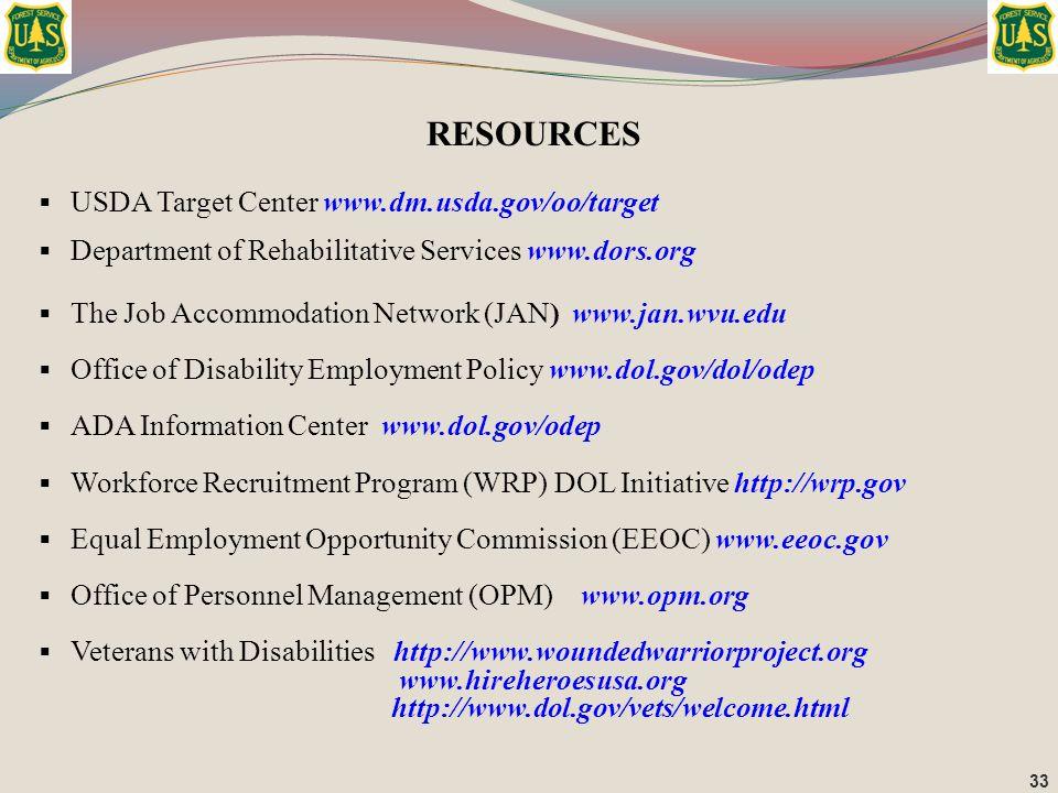RESOURCES USDA Target Center www.dm.usda.gov/oo/target