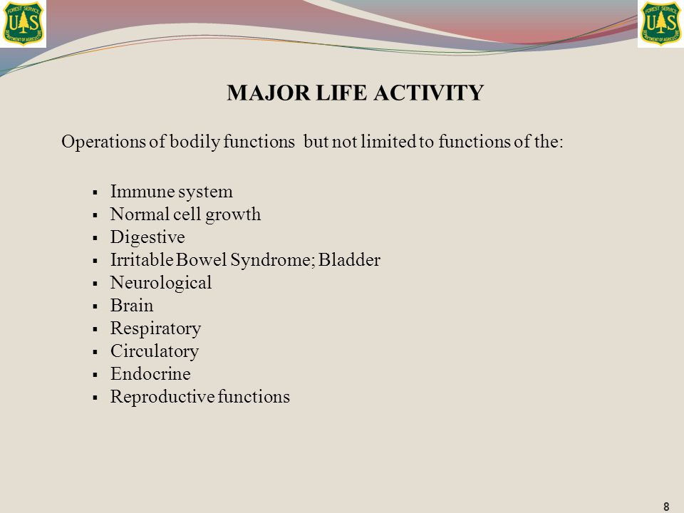 MAJOR LIFE ACTIVITY Operations of bodily functions but not limited to functions of the: Immune system.