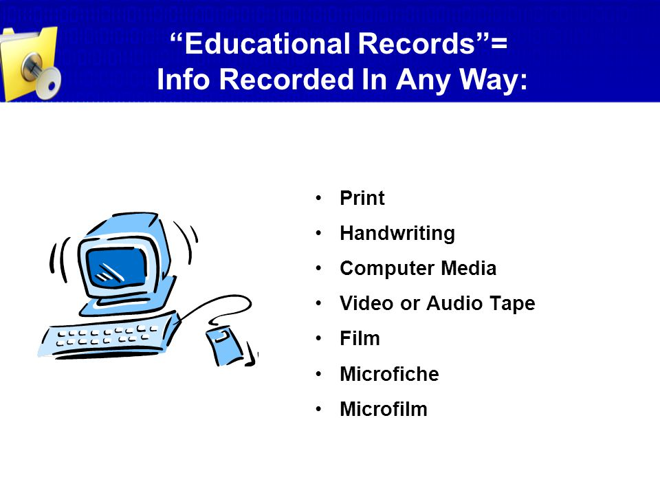 Educational Records = Info Recorded In Any Way: