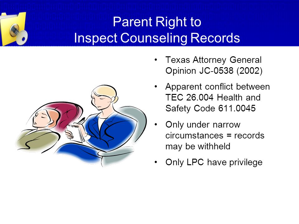 Parent Right to Inspect Counseling Records