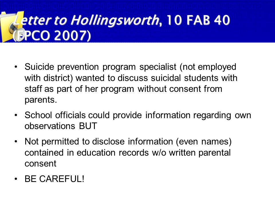 Letter to Hollingsworth, 10 FAB 40 (FPCO 2007)