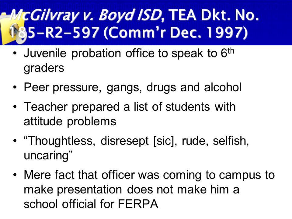 McGilvray v. Boyd ISD, TEA Dkt. No. 185-R2-597 (Comm'r Dec. 1997)