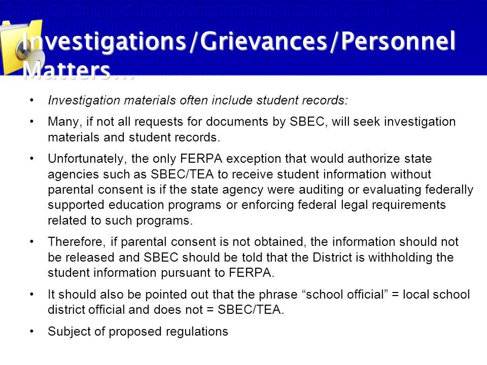 Investigations/Grievances/Personnel Matters…