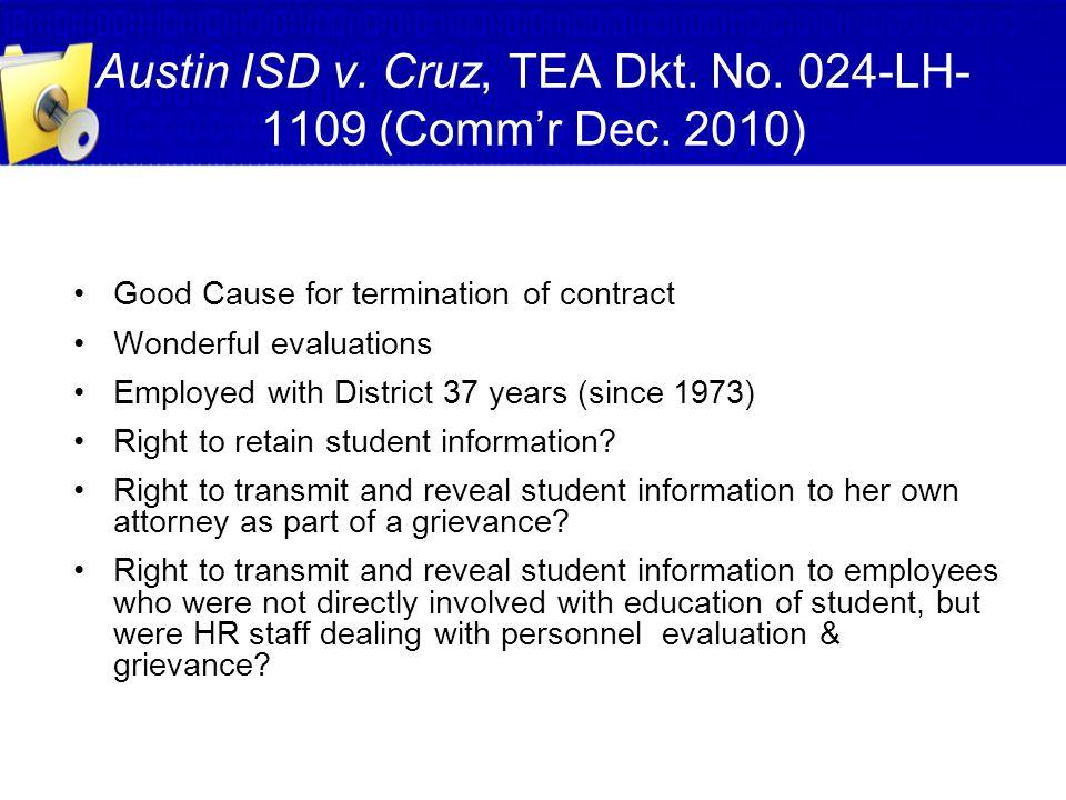 Austin ISD v. Cruz, TEA Dkt. No. 024-LH-1109 (Comm'r Dec. 2010)
