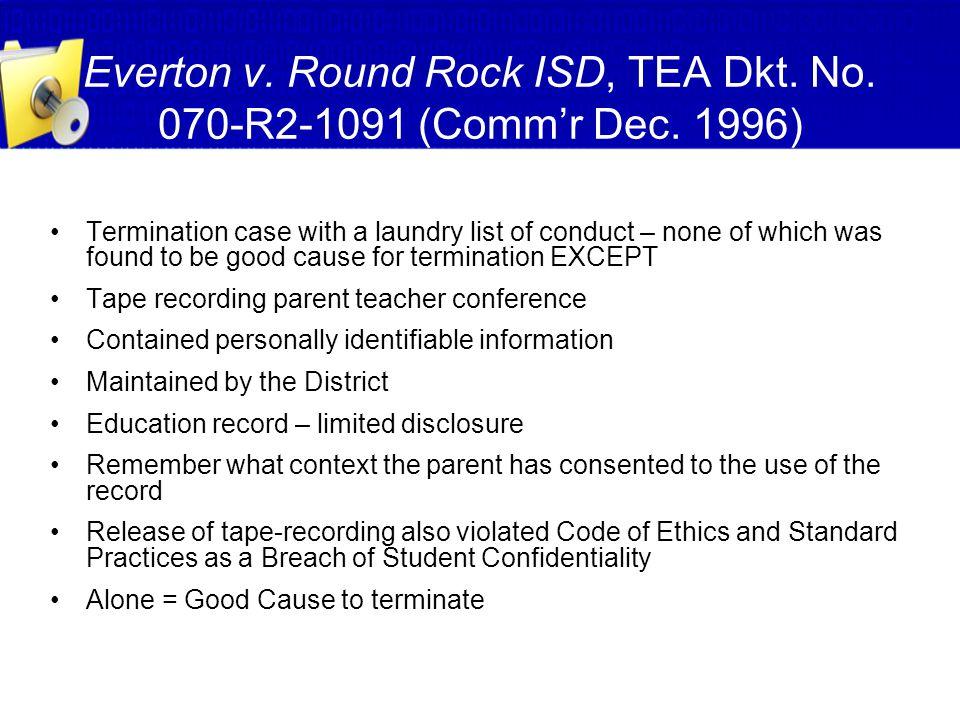 Everton v. Round Rock ISD, TEA Dkt. No. 070-R2-1091 (Comm'r Dec. 1996)