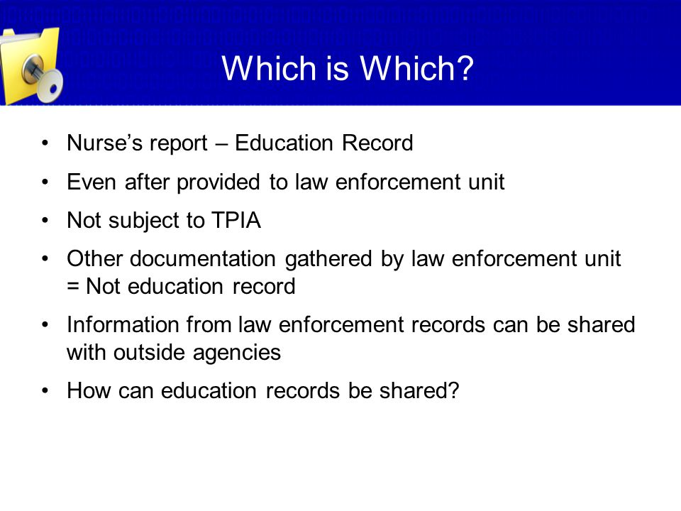 Which is Which Nurse's report – Education Record
