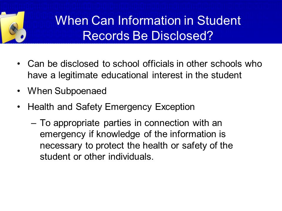 When Can Information in Student Records Be Disclosed