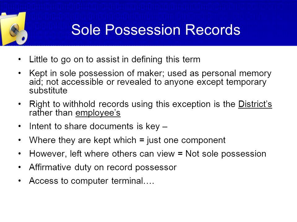 Sole Possession Records