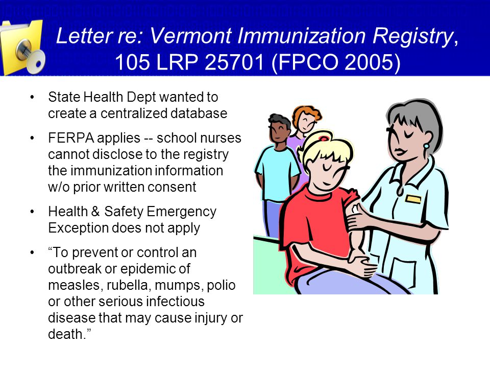 Letter re: Vermont Immunization Registry, 105 LRP 25701 (FPCO 2005)