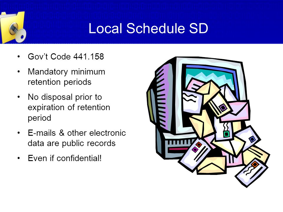 Local Schedule SD Gov't Code 441.158