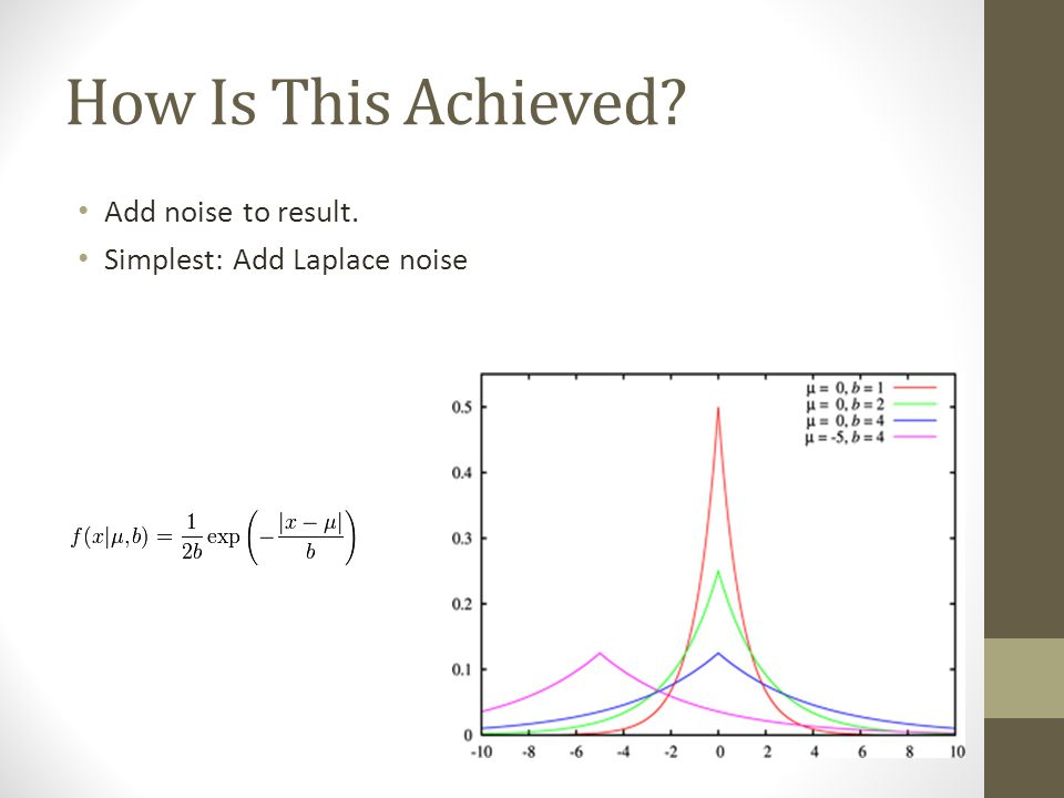 How Is This Achieved Add noise to result. Simplest: Add Laplace noise