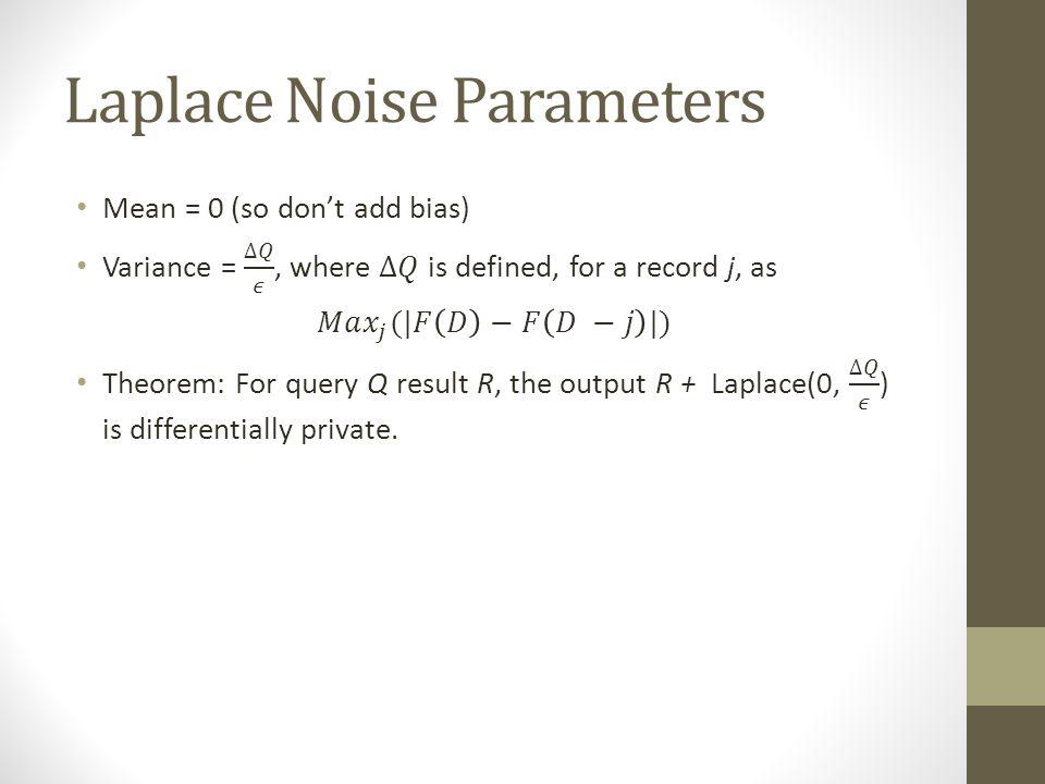Laplace Noise Parameters
