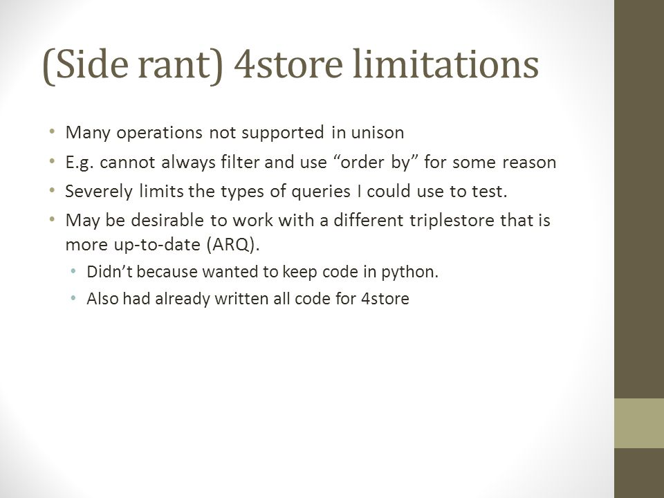 (Side rant) 4store limitations