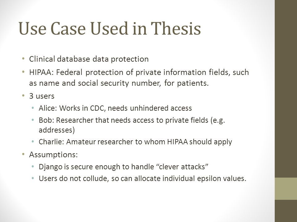 Use Case Used in Thesis Clinical database data protection