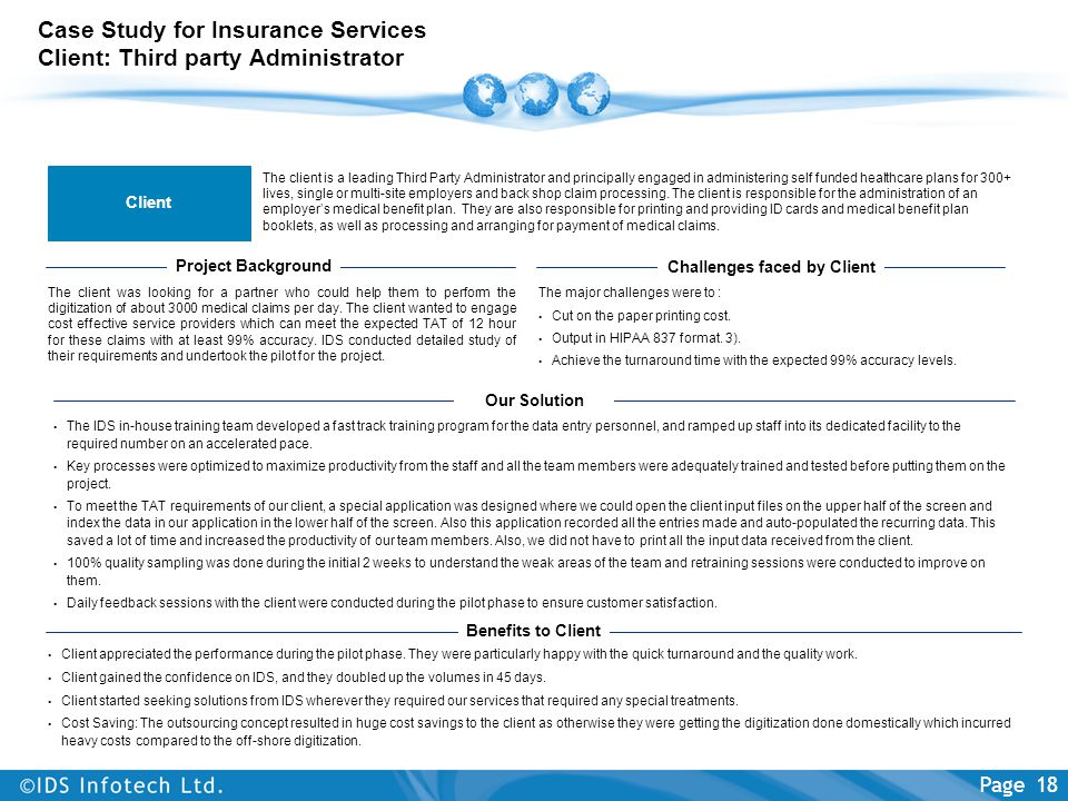 Case Study for Insurance Services Client: Third party Administrator