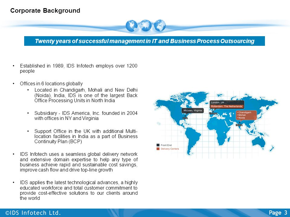 Corporate Background Twenty years of successful management in IT and Business Process Outsourcing.