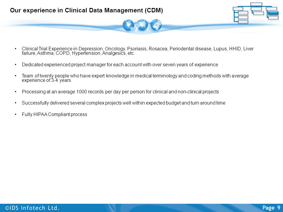 Our experience in Clinical Data Management (CDM)