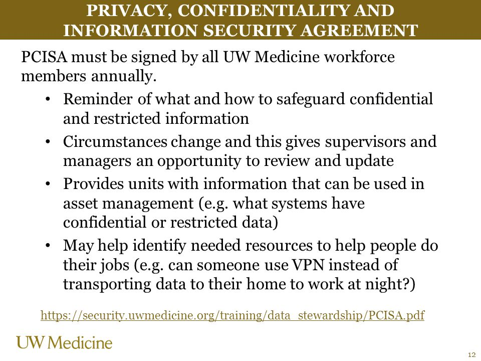 Privacy, confidentiality and information security agreement