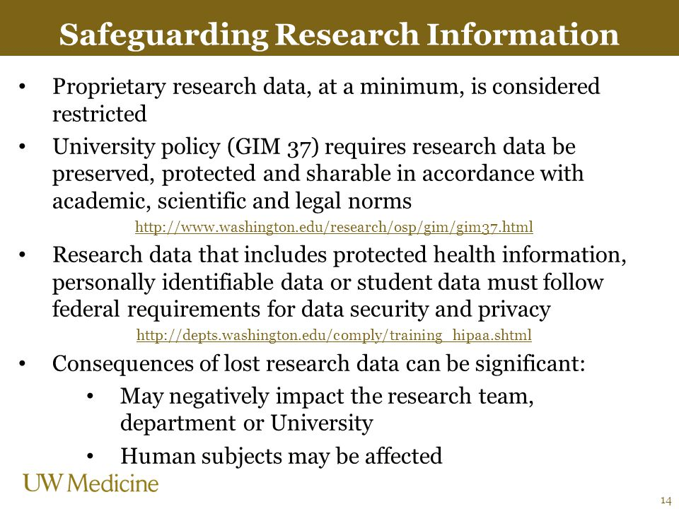 Safeguarding Research Information