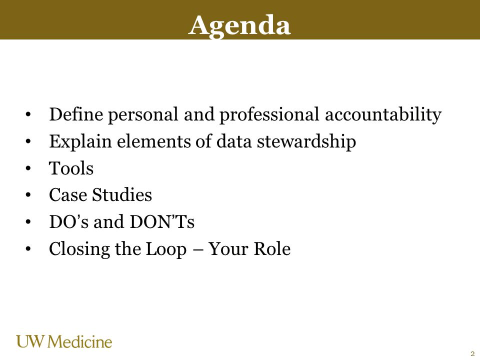 Agenda Define personal and professional accountability