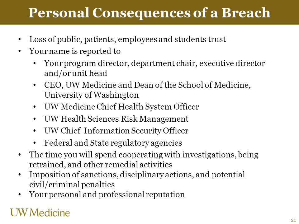 Personal Consequences of a Breach