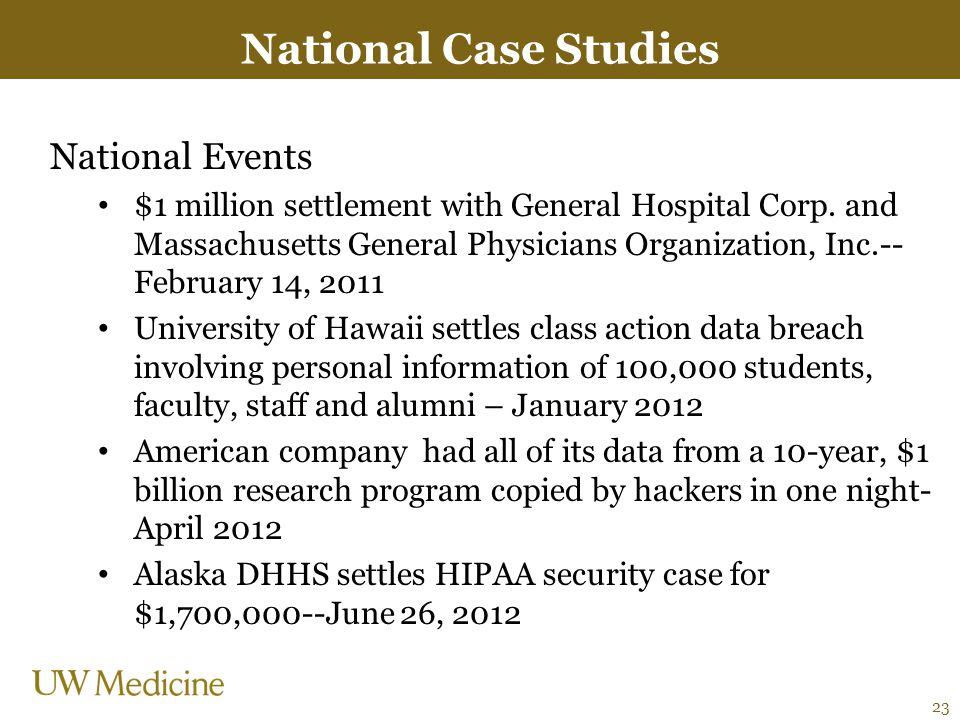 National Case Studies National Events