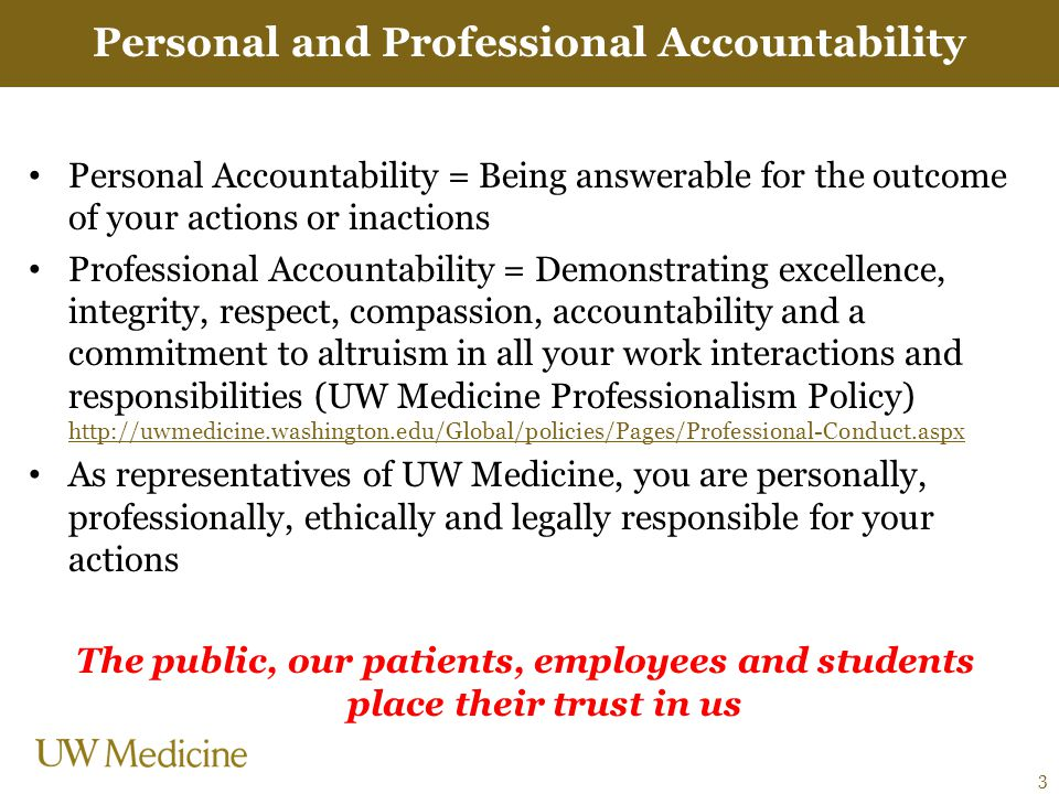 Personal and Professional Accountability