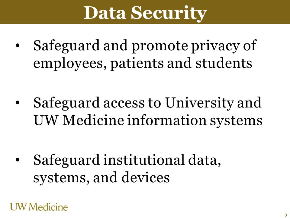 Data Security Safeguard and promote privacy of employees, patients and students.
