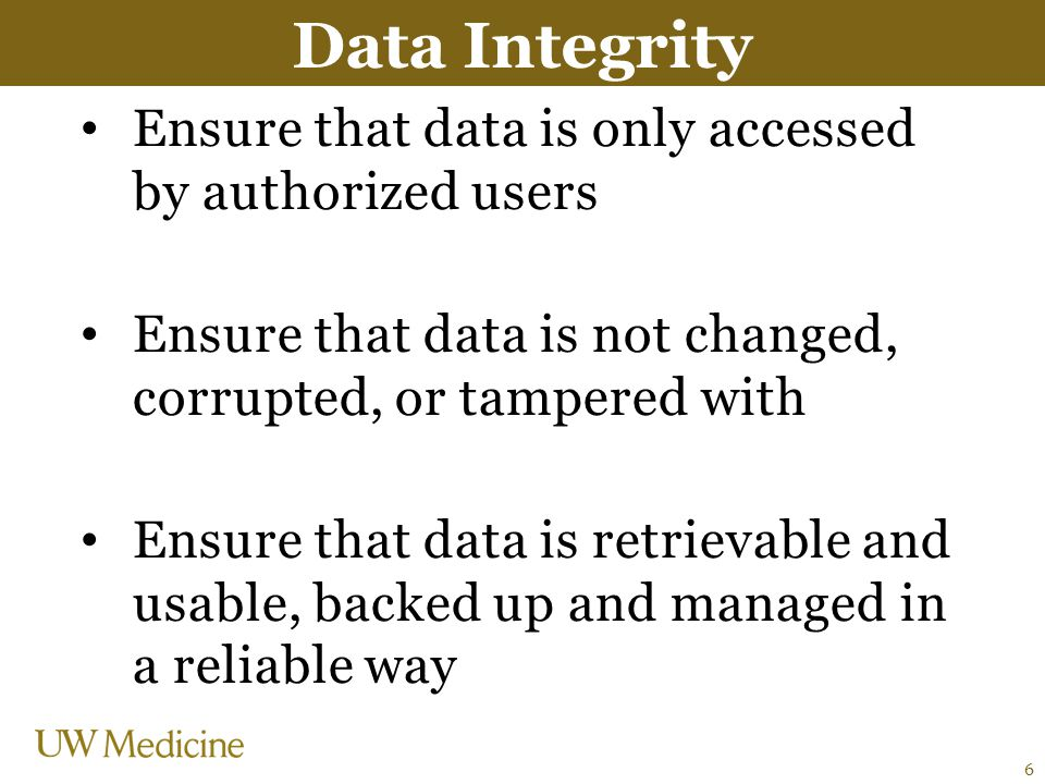 Data Integrity Ensure that data is only accessed by authorized users