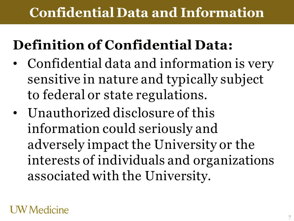 Confidential Data and Information