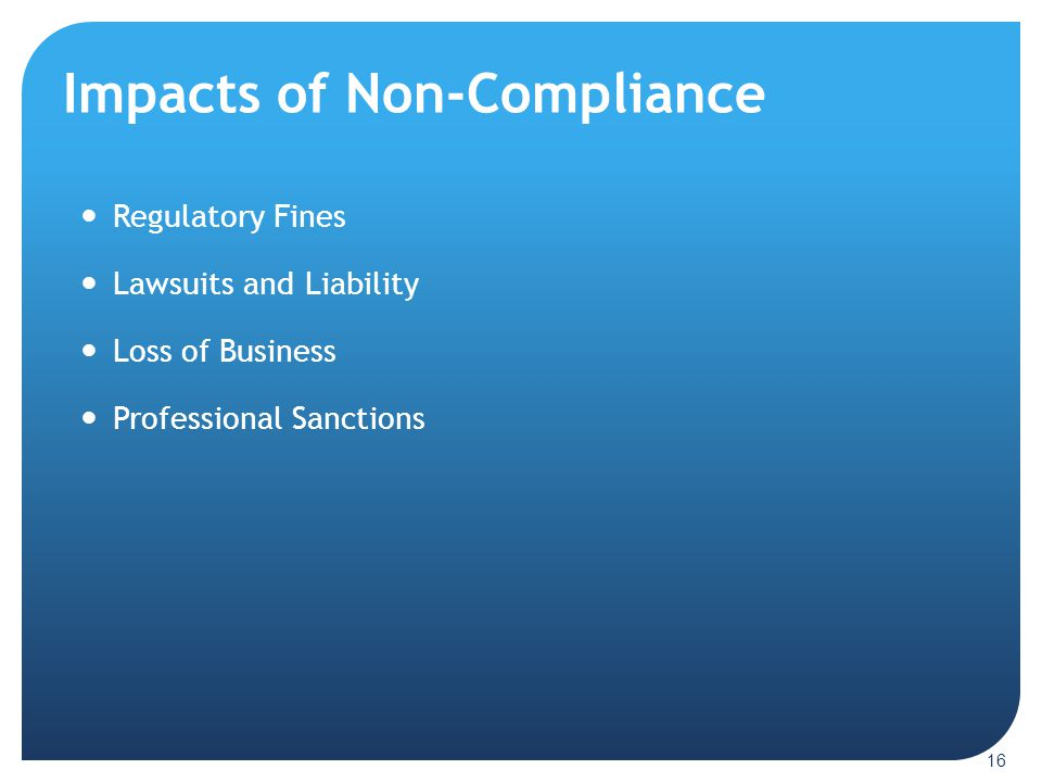 Impacts of Non-Compliance