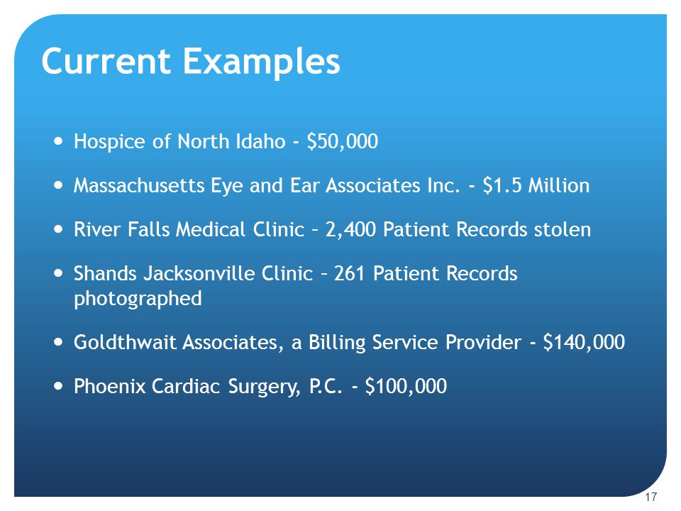 Current Examples Hospice of North Idaho - $50,000