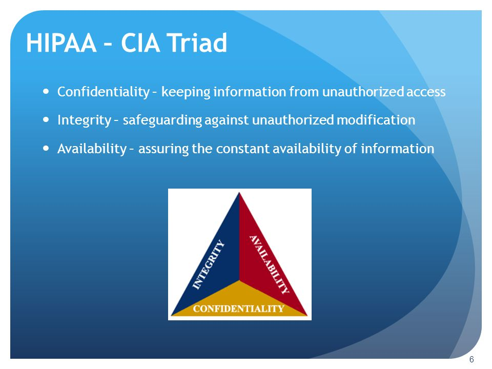 HIPAA – CIA Triad Confidentiality – keeping information from unauthorized access. Integrity – safeguarding against unauthorized modification.