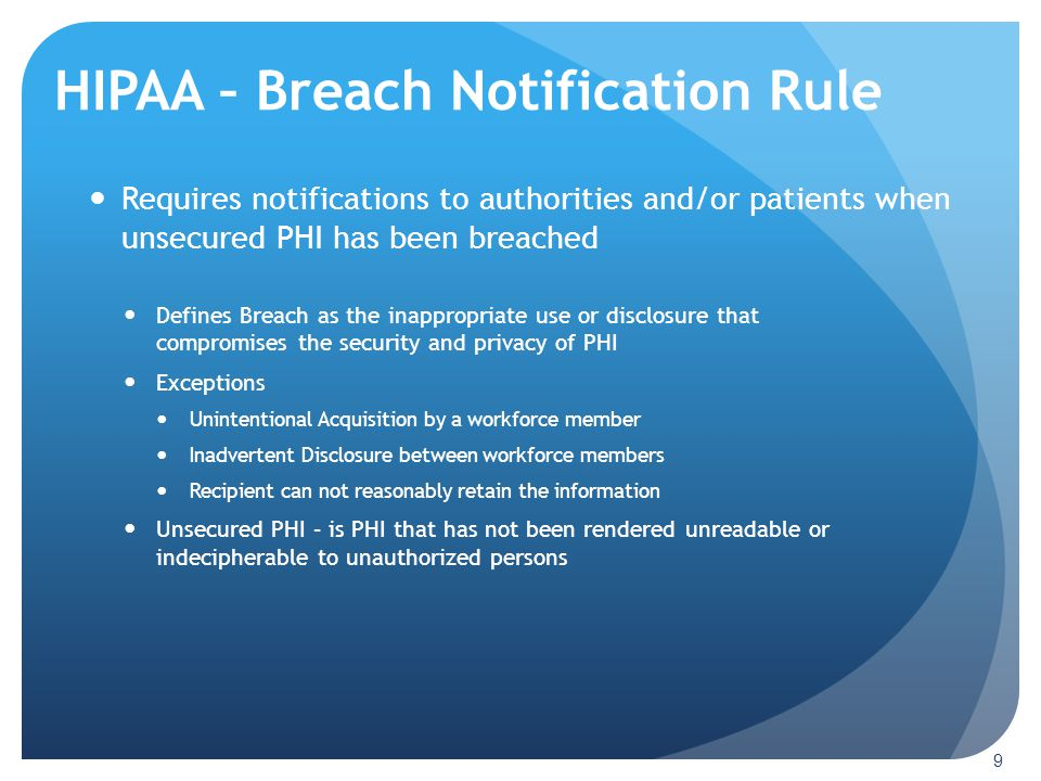 HIPAA – Breach Notification Rule