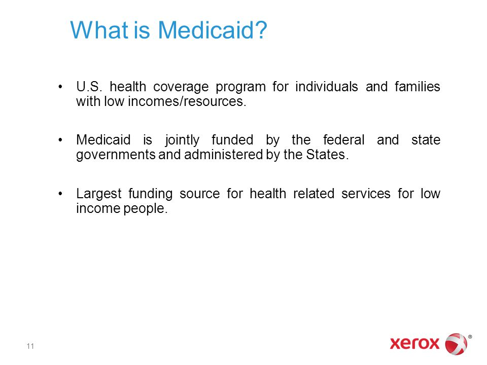 What is Medicaid U.S. health coverage program for individuals and families with low incomes/resources.