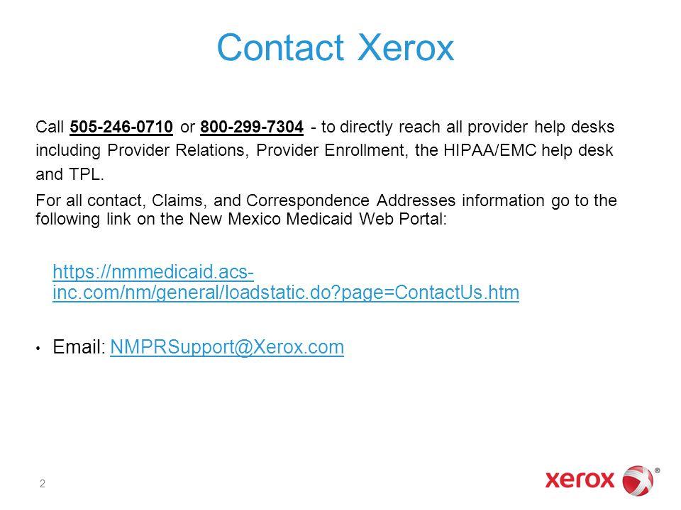 Contact Xerox