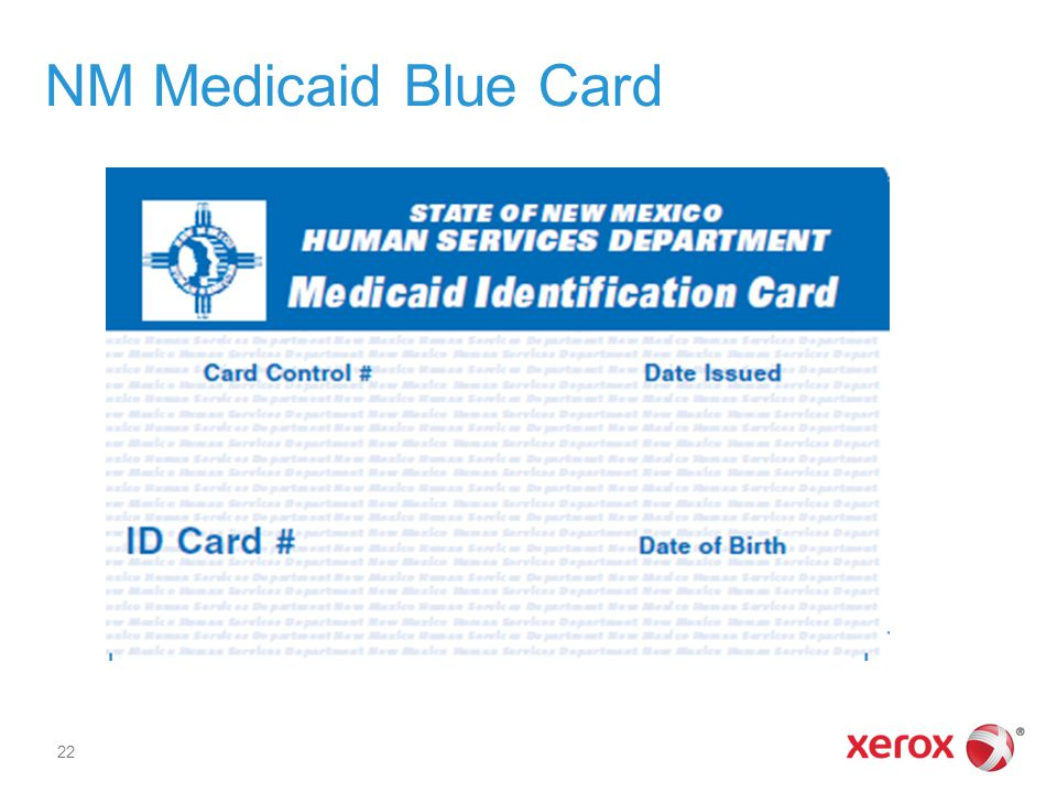 NM Medicaid Blue Card Image of a Medicaid Blue Card.