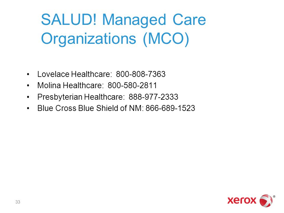 SALUD! Managed Care Organizations (MCO)
