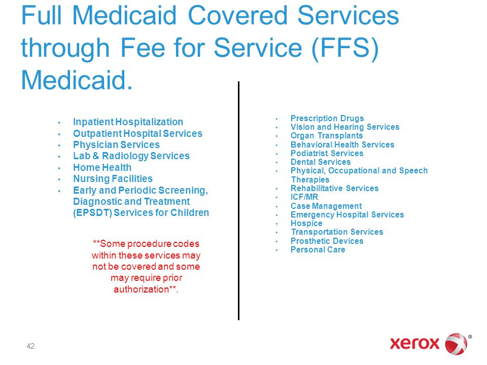 Full Medicaid Covered Services through Fee for Service (FFS) Medicaid.